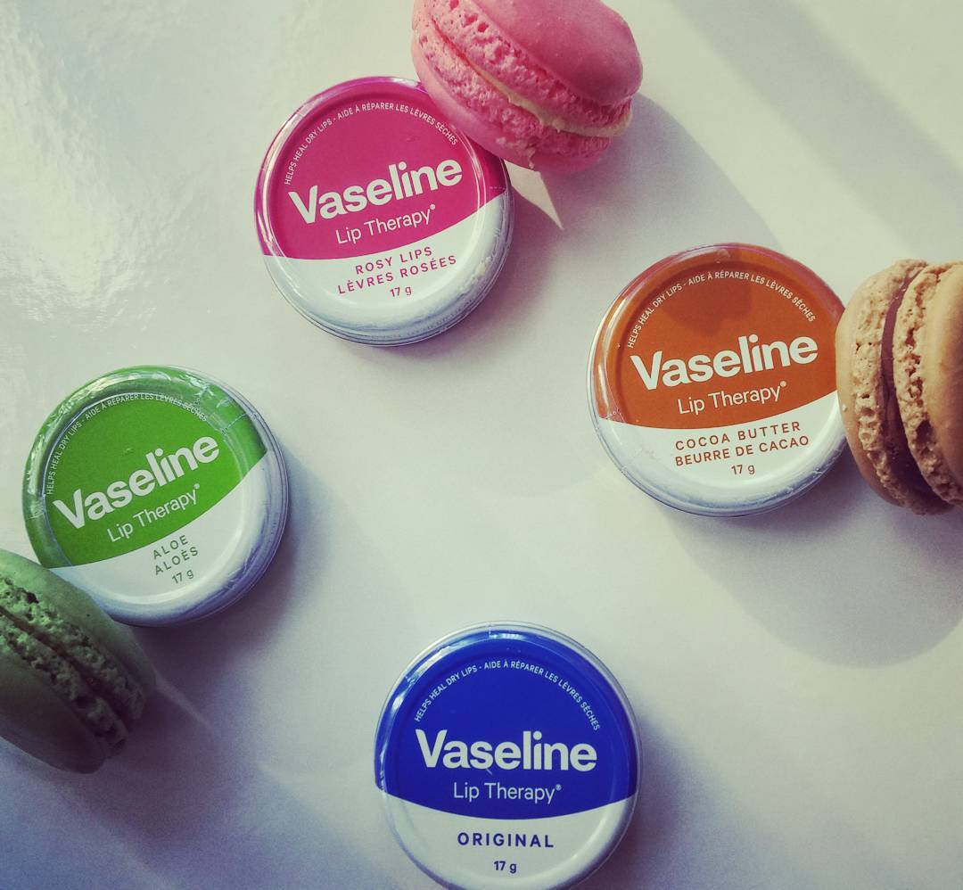 #Vaseline #liptherapy now in #flavours! Not pictured: 1 #macaron, consumed pre-photo shoot.