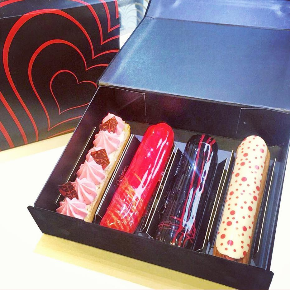 Skip chocolates and go straight for the kill! @delyseestoronto #eclairs come in 6 #Valentine day flavours as of Thursday. Now GO EAT/LOVE!
