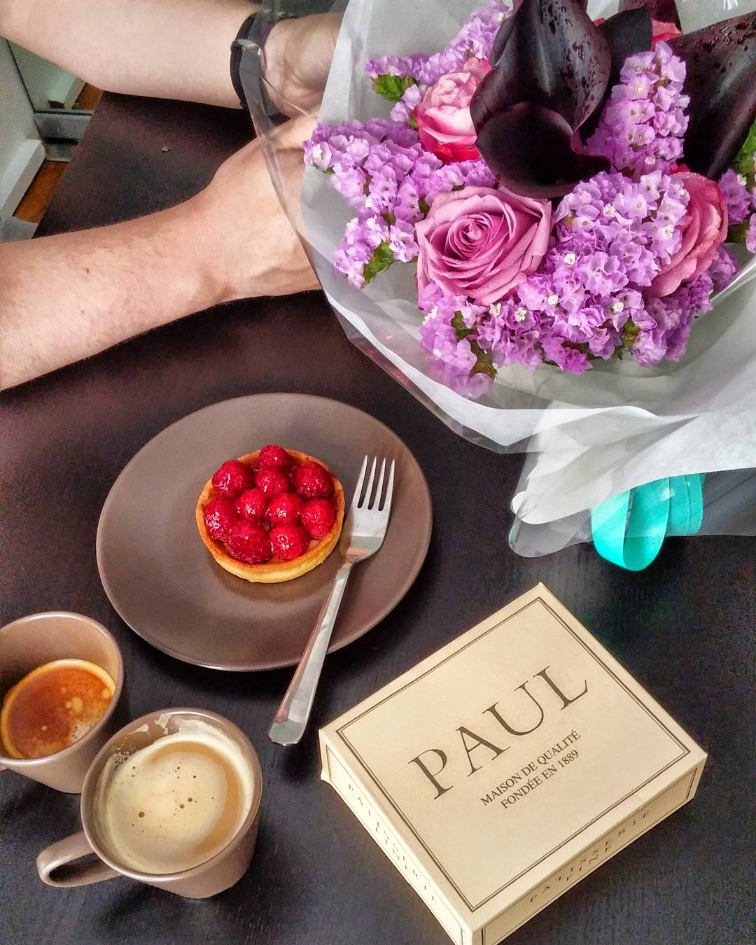 Those hands bought me those flowers , that raspberry tart & made me that espresso ❤ #HBDtoME!