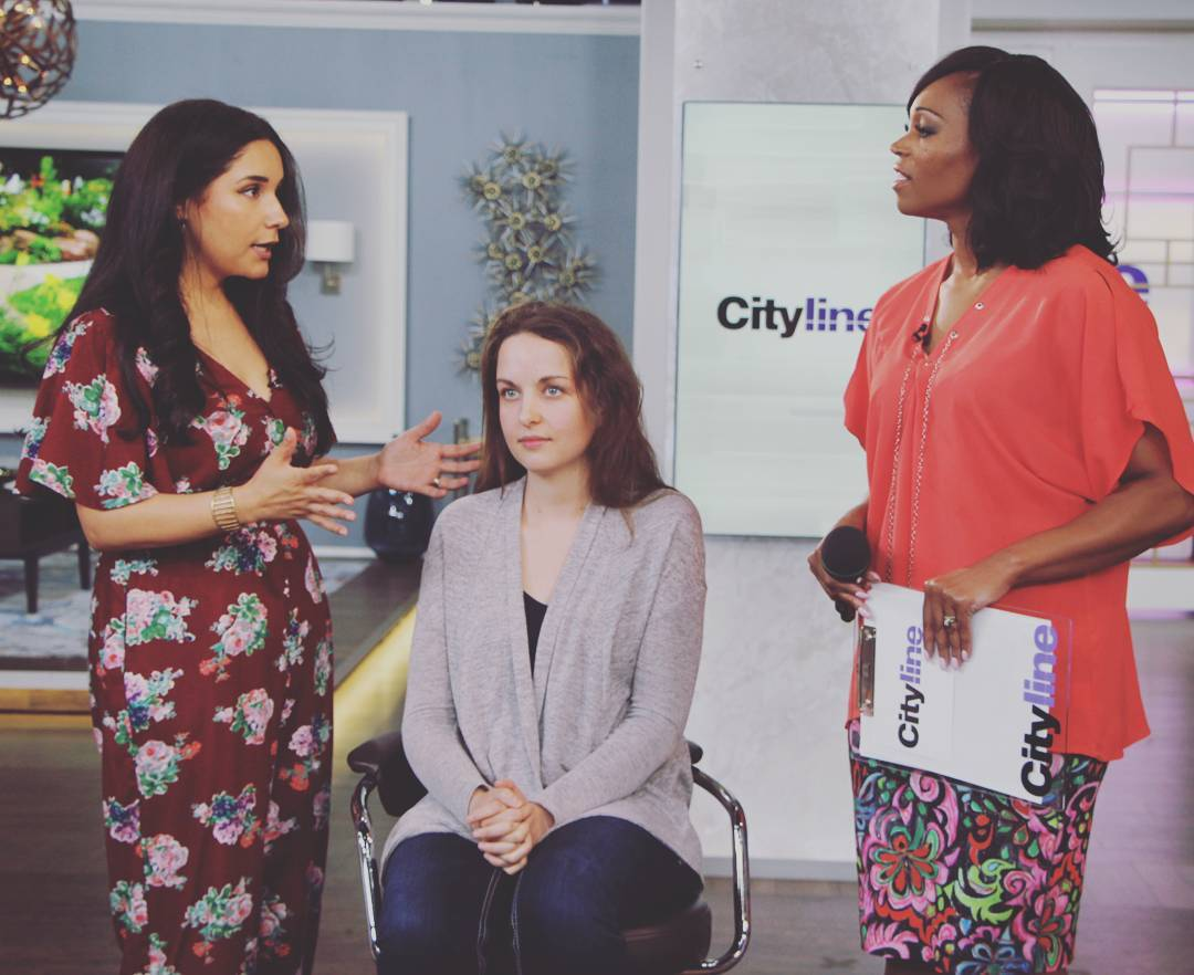 Latest makeover on @CitylineCA, Megan lost over 75 pounds and got a new look from @wjrbeauty and I - shot of @TracyCityline & I discussing Megan's makeup details. Link to the before & after in bio!