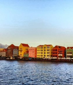 Views from #QueenEmma bridge looking onto #Otrobanda, Willemstad in Curacao.