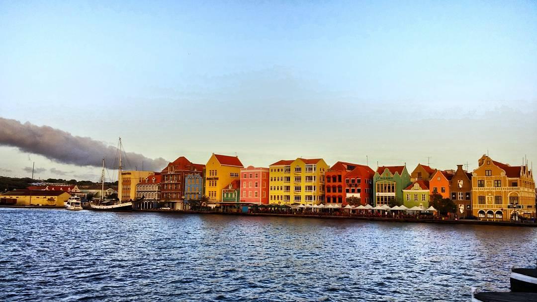 Views from #QueenEmma bridge looking onto #Otrobanda, Willemstad in Curacao.