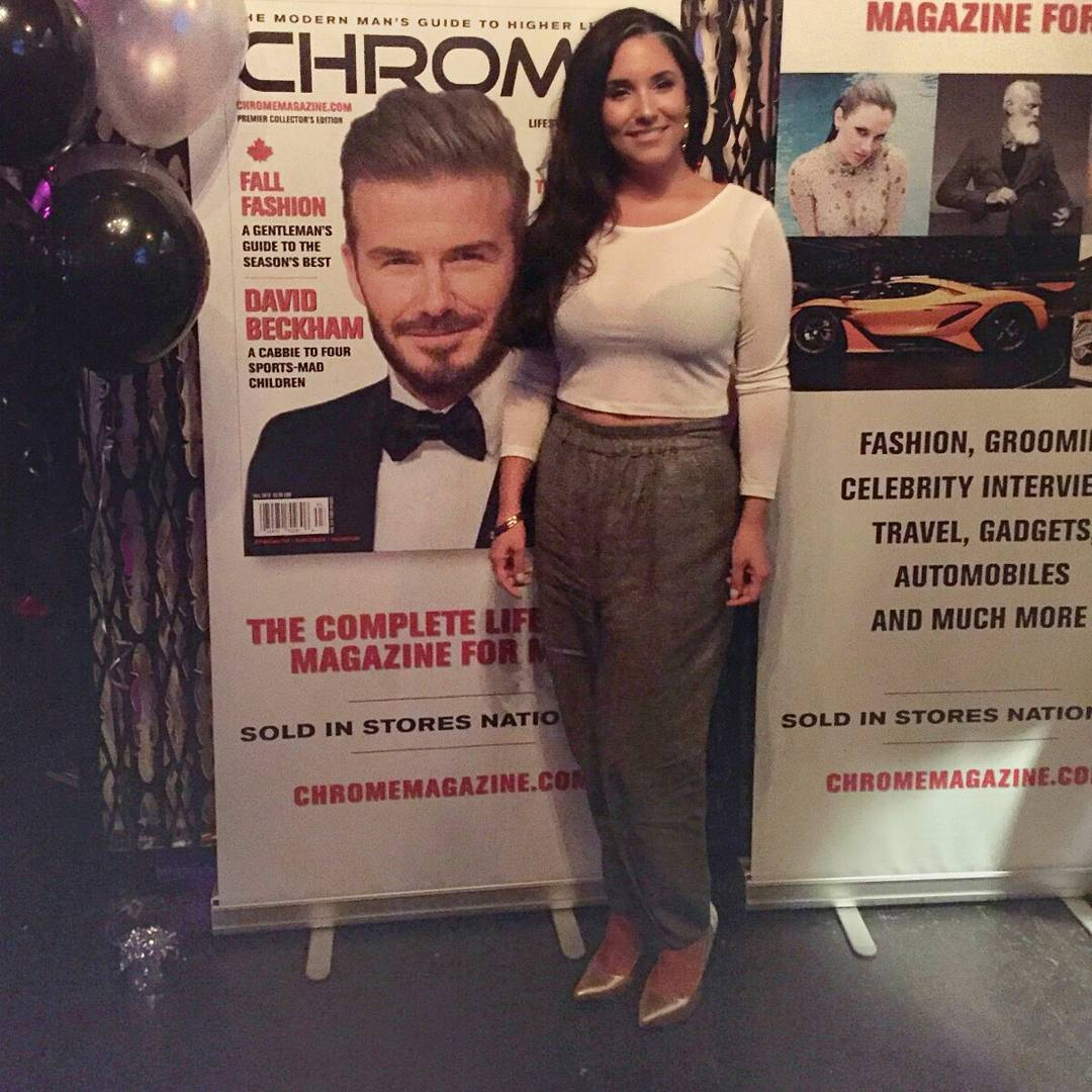 "When your friend who knows best says ""You have to take a photo in front of this for your social media"" and you know she's right, so no matter how uncomfortable you feel, you do it, because you are the GD Grooming Editor of the magazine. #AboutLastNight #ChromeCanada #ChromeMagazine"